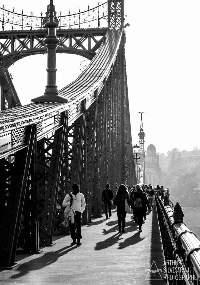 hongrie budapest pont homme t-shirt coucher de soleil